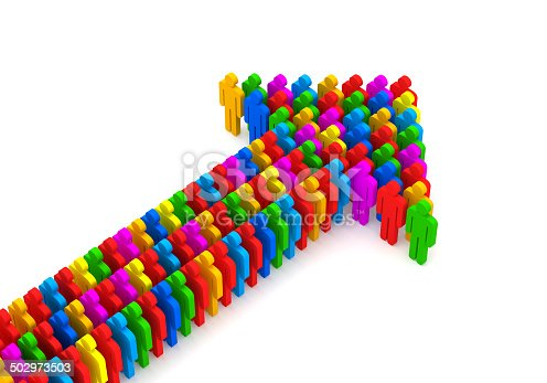 688200936 istock photo Arrow made from colorful 3d people 502973503
