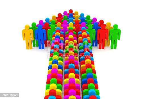 688200936 istock photo Arrow made from colorful 3d people 502975679