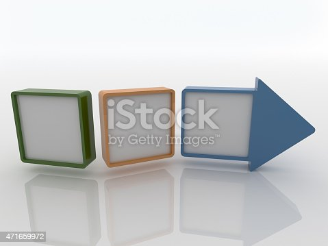 istock Arrow made with three canvas on a white floor 471659972