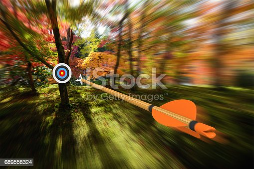 istock Arrow moving with precision and blurred motion toward an archery target, part photo, part 3D rendering 689558324