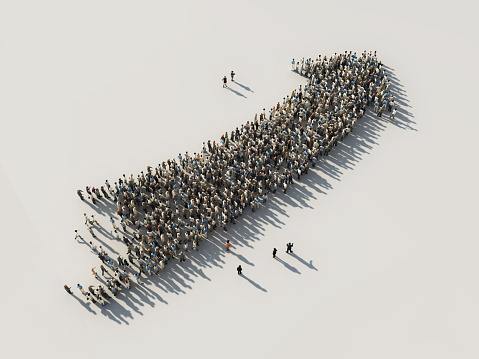 Arrow Of Crowds Stock Photo - Download Image Now