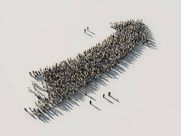 arrow of crowds stock photo