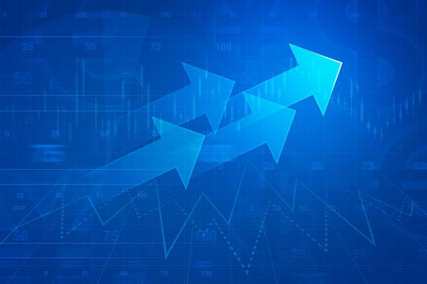 Arrow on financial graph, success business concept stock photo