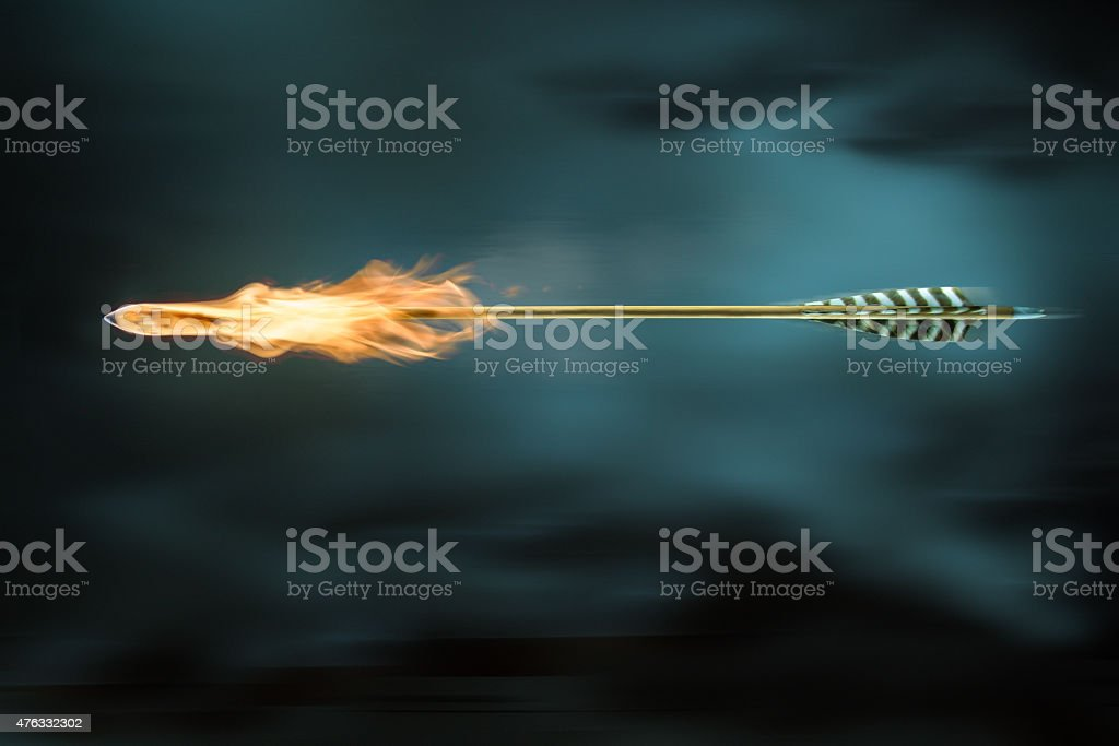 Arrow on fire stock photo
