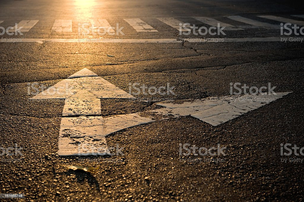 arrow on road stock photo