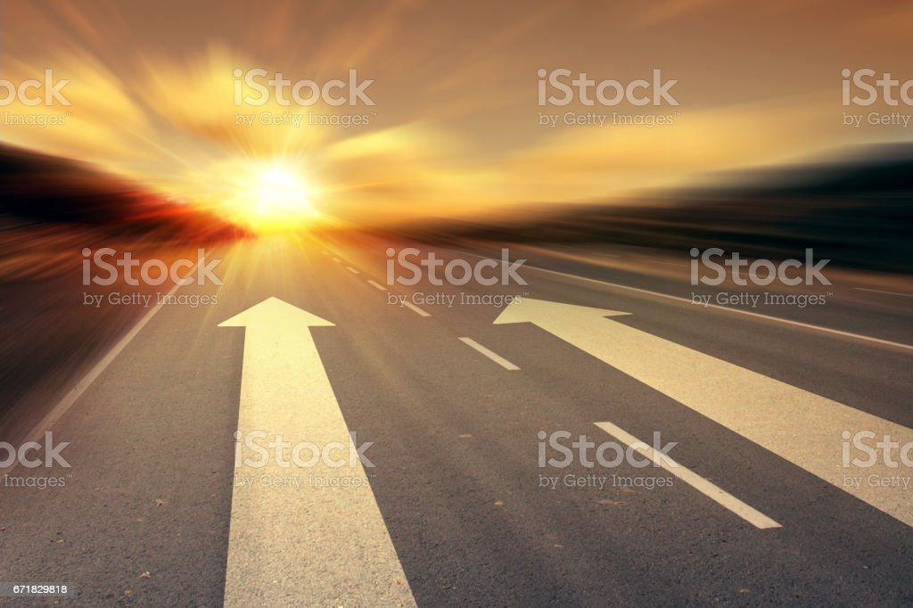 arrow on the road stock photo