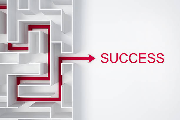 arrow out of labyrinth for success business conception stock photo