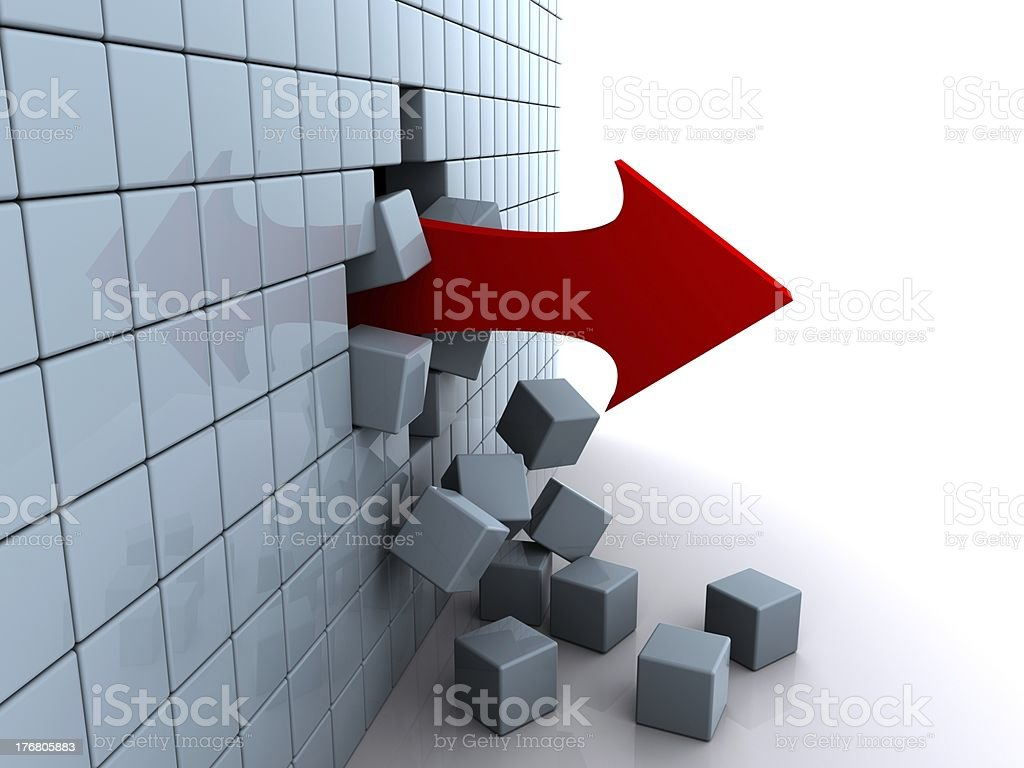 arrow pierces the wall of cubes royalty-free stock photo