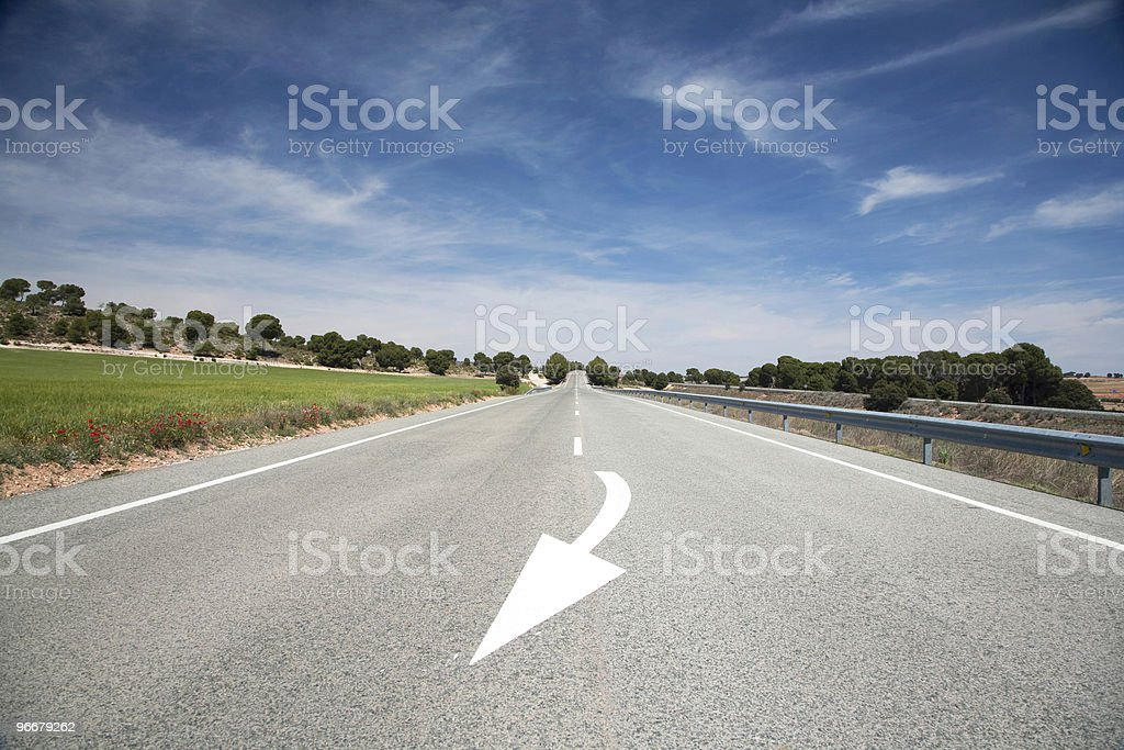 arrow road wide stock photo