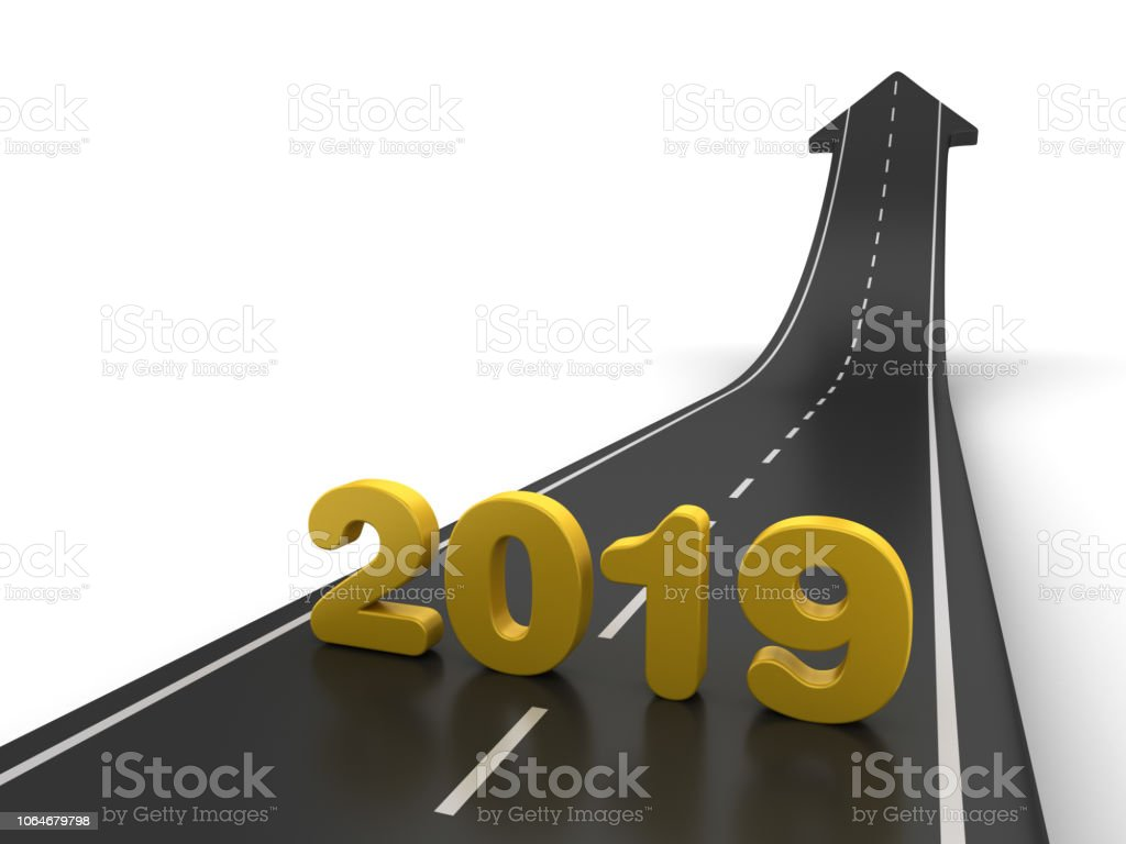 Arrow Road with 2019 Year Number - 3D Rendering stock photo