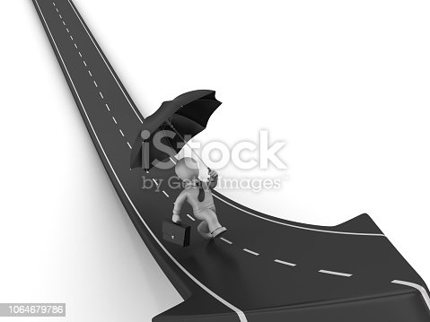 1048837520 istock photo Arrow Road with Business Character Running with Umbrella - 3D Rendering 1064679786