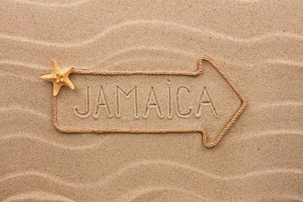 Flèche corde avec le mot «en Jamaïque - Photo