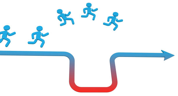 Arrow Runner Pitfall Jump Symbolic running figure arrow red pitfall jump, 3d illustration, horizontal, over white, isolated avoidance stock pictures, royalty-free photos & images