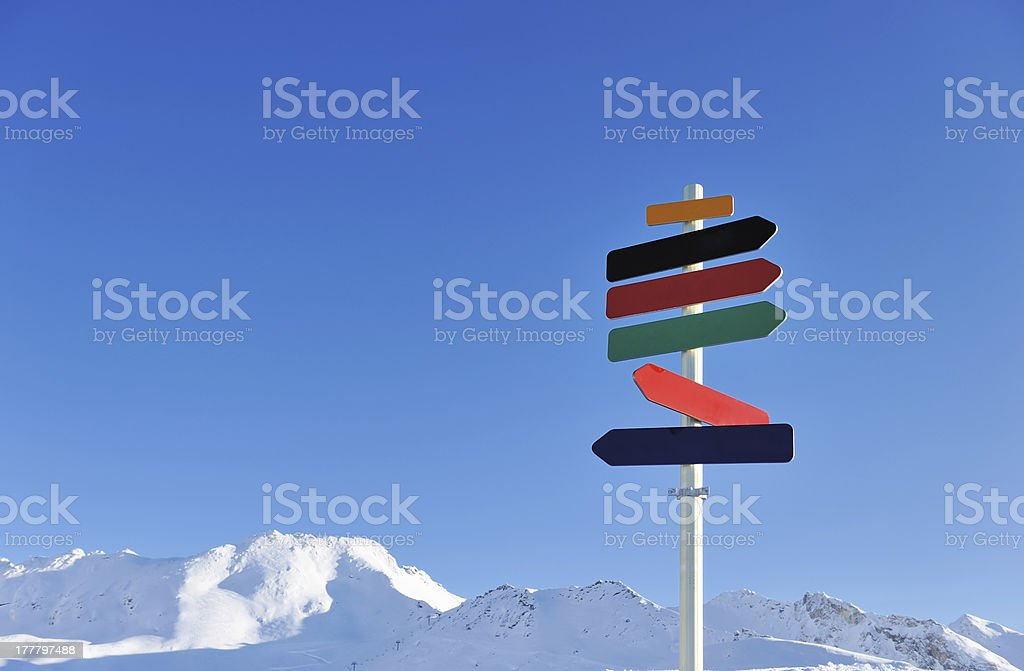Arrow sign in mountains royalty-free stock photo