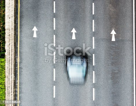 94502198istockphoto Arrow signs on the road with a motion blur car 1150189643