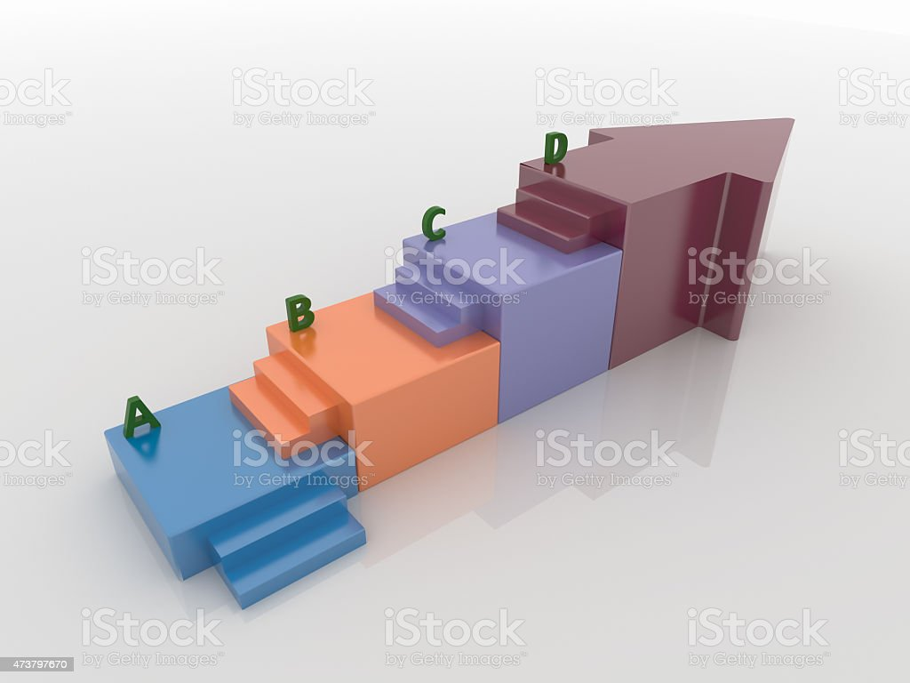 Arrow Staircase Infographic Background Concept stock photo