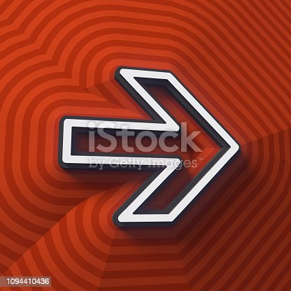 istock Arrow symbol, button with shadow. Colorful sign. 3d rendering 1094410436
