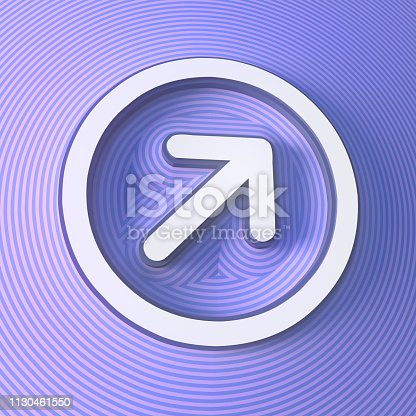 istock Arrow symbol, button with shadow. Colorful sign. 3d rendering 1130461550