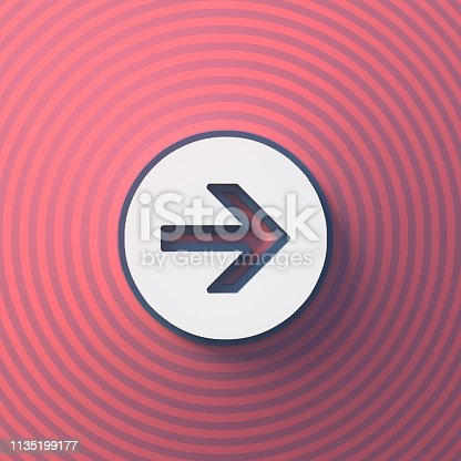 istock Arrow symbol, button with shadow. Colorful sign. 3d rendering 1135199177