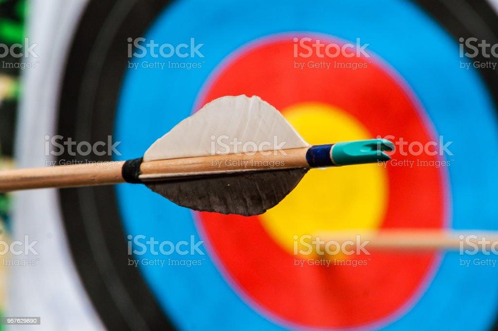 arrow target goal archery, aim the arrow hit the target Accuracy Stock Photo