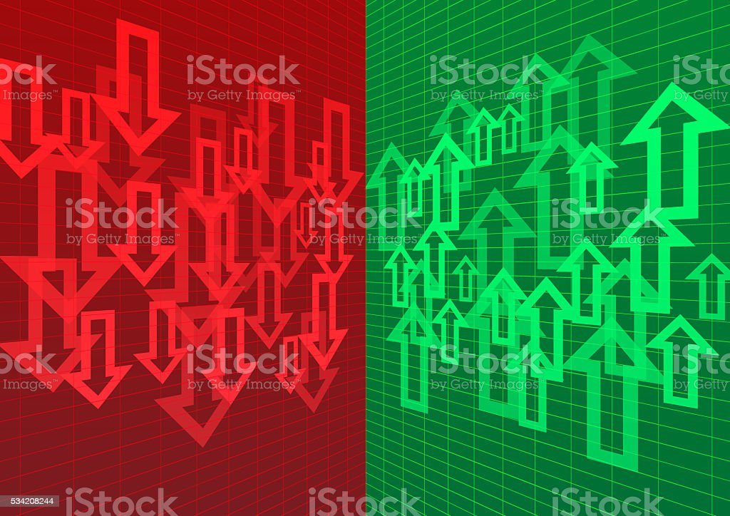 Arrow Up and Down Abstract Background Red Green stock photo
