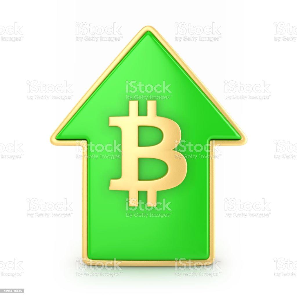 Flèche vers le haut avec bitcoin symbole - Photo de Acheter libre de droits