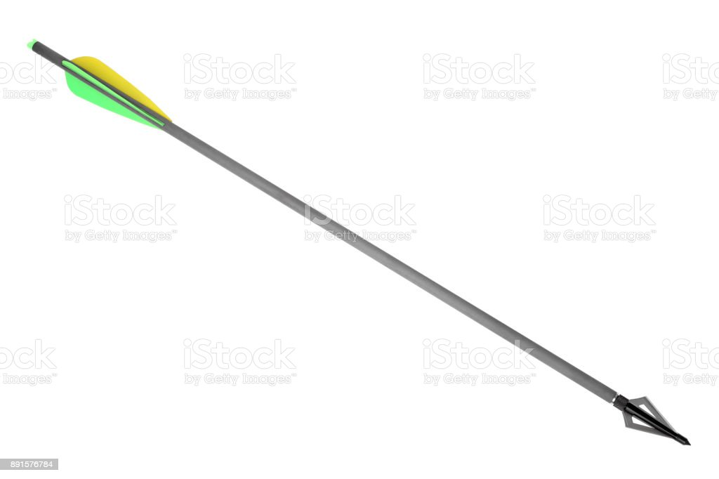 Arrow with hunting broadhead for compound bow and crossbow stock photo
