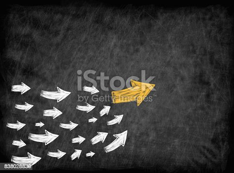istock arrow with many followed arrows for trend leader or leadership concept 838028836