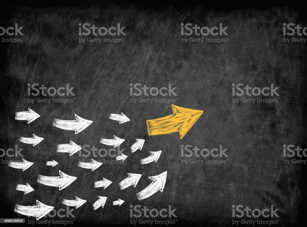 arrow with many followed arrows for trend leader or leadership concept stock photo