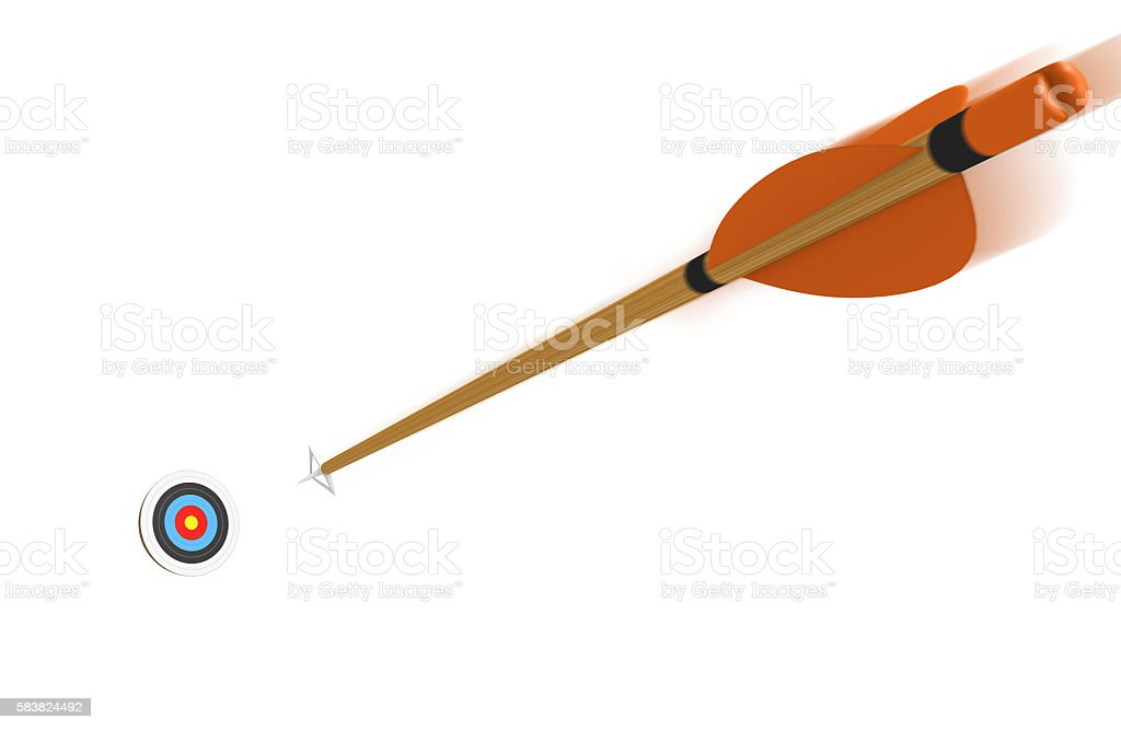 Arrow with motion blur flying toward an archery target stock photo