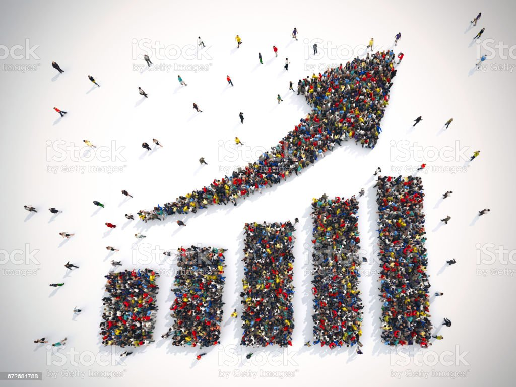 Arrow with statistic people. 3D Rendering stock photo