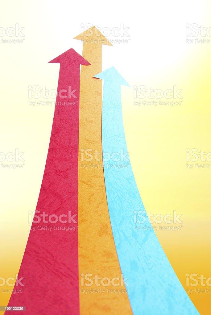 Arrowheads fly upward to sky royalty-free stock photo