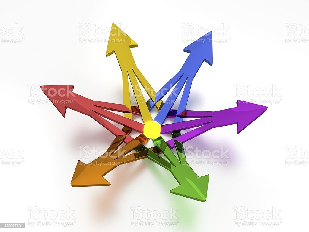 3D Arrows - 6 Colors royalty-free stock photo