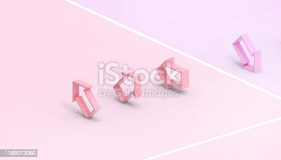 istock Arrows and the finish line of the winner and the idea leaders in the modern business Concept Modern Art Purple and pink paste color background - 3D rendering 1169073060