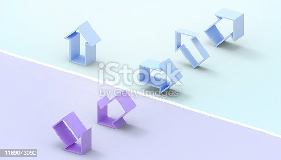 istock Arrows and the finish line of the winner and the idea leaders in the modern business Concept Modern Art pastel Blue and Purple background - 3d rendering 1169073092