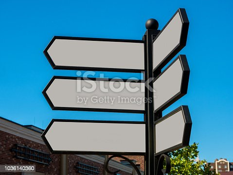 1144228372 istock photo Arrows are empty pointers to shops. 1036140360