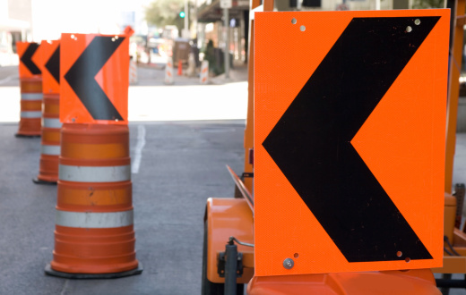 Arrows Around Road Construction Stock Photo - Download Image Now