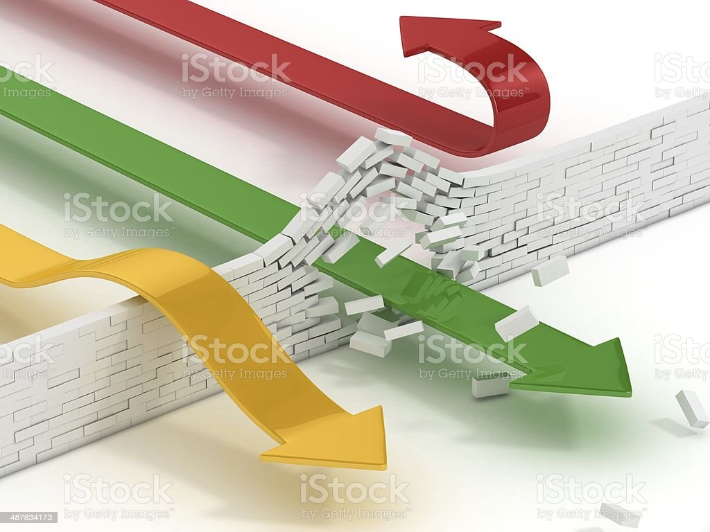 arrows breaking or passing brick wall stock photo