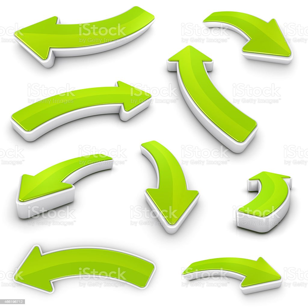 Arrows collection 3D green with shadows -clipping path stock photo
