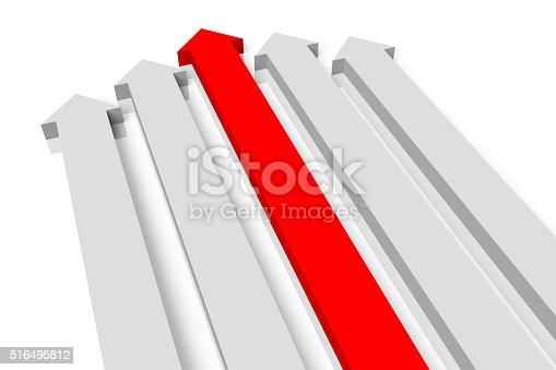 istock 3D arrows concept - leadership 516495812