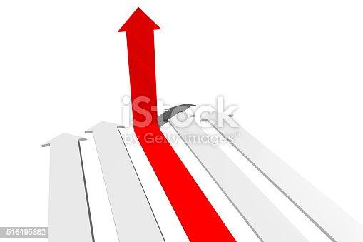 istock 3D arrows concept - leadership 516495882