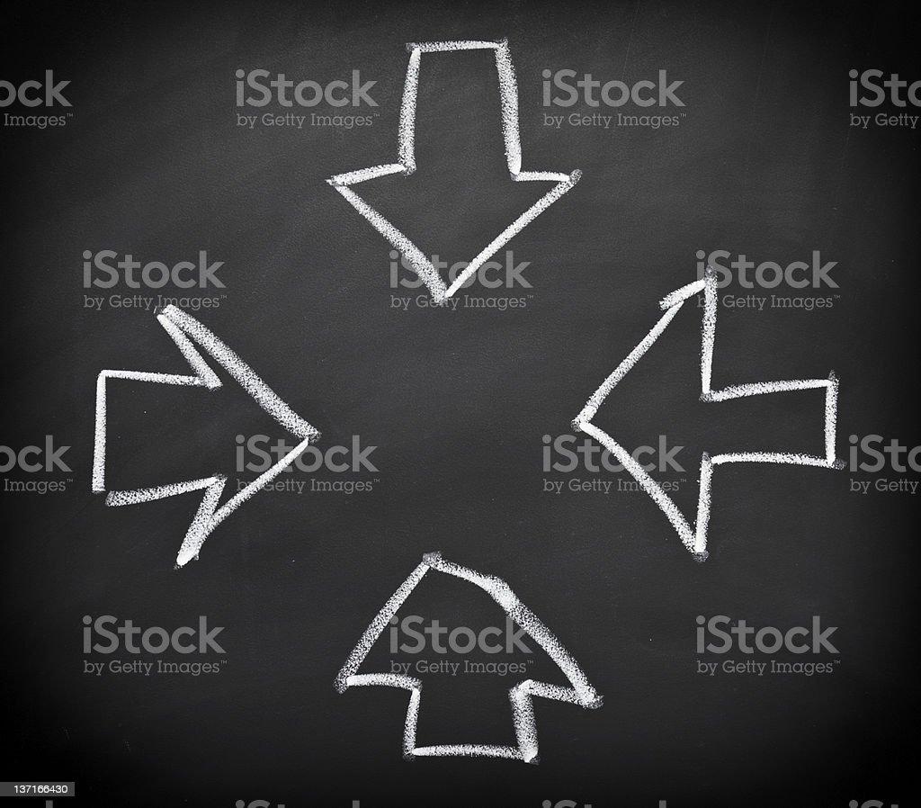 Arrows converging to center stock photo