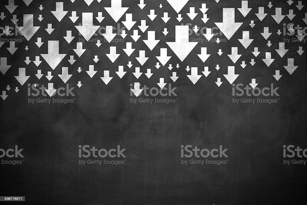Arrows down stock photo
