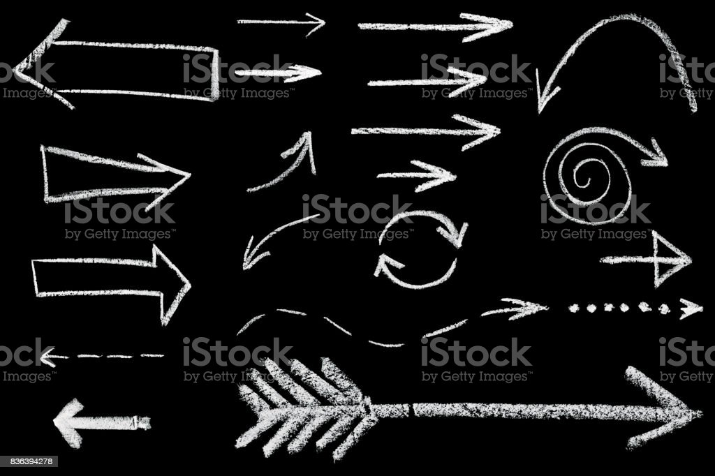 arrows drawn in chalk stock photo