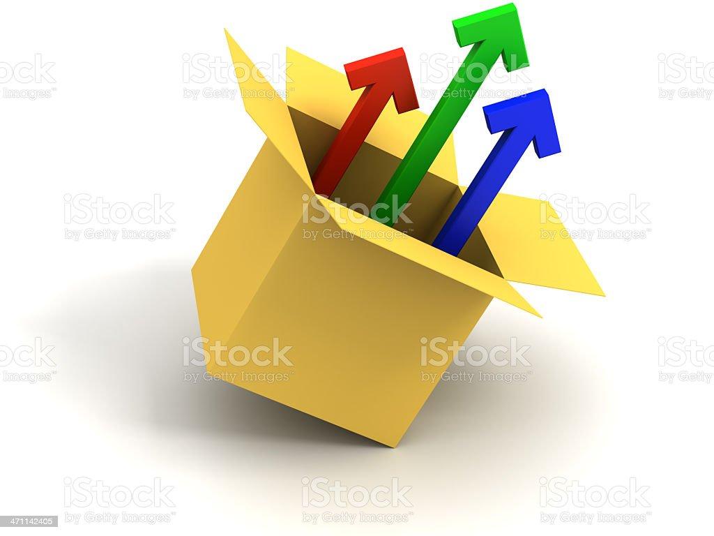 Arrows from box royalty-free stock photo