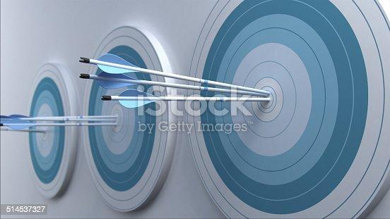 istock Arrows hit target. 514537327