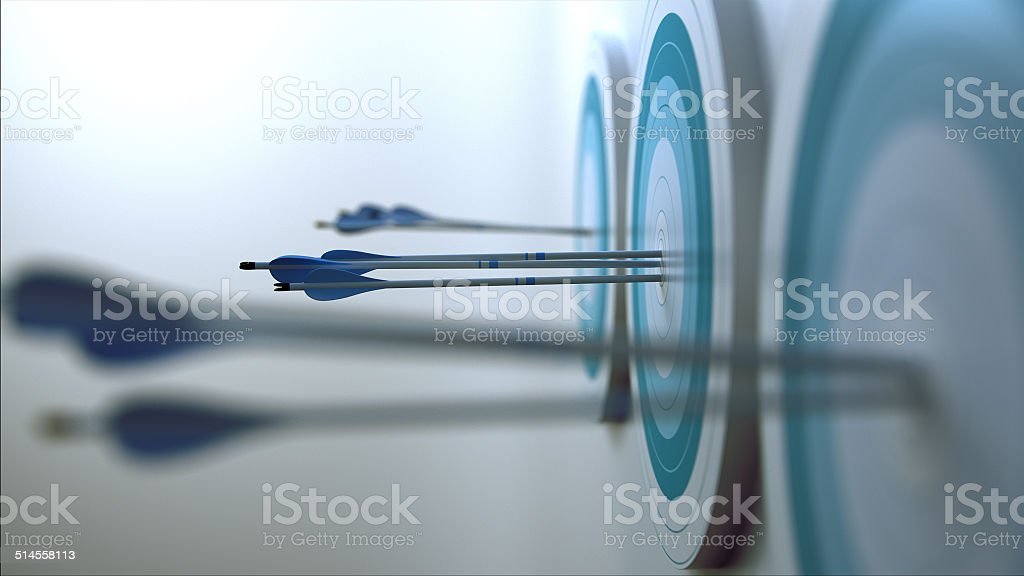 Arrows hit target. Simple 3d scene representing arrows, that hit targets. Accuracy Stock Photo