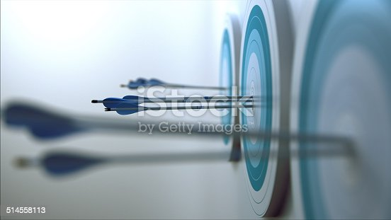 Simple 3d scene representing arrows, that hit targets.