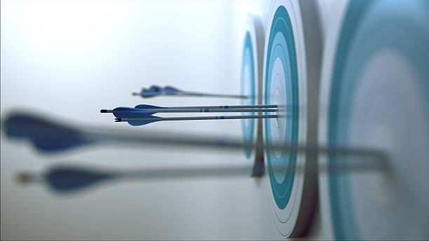 arrows hit target. - sports target stock photos and pictures