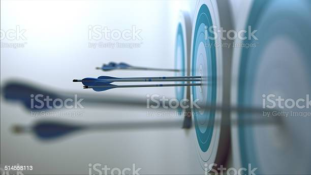 Arrows Hit Target Stock Photo - Download Image Now